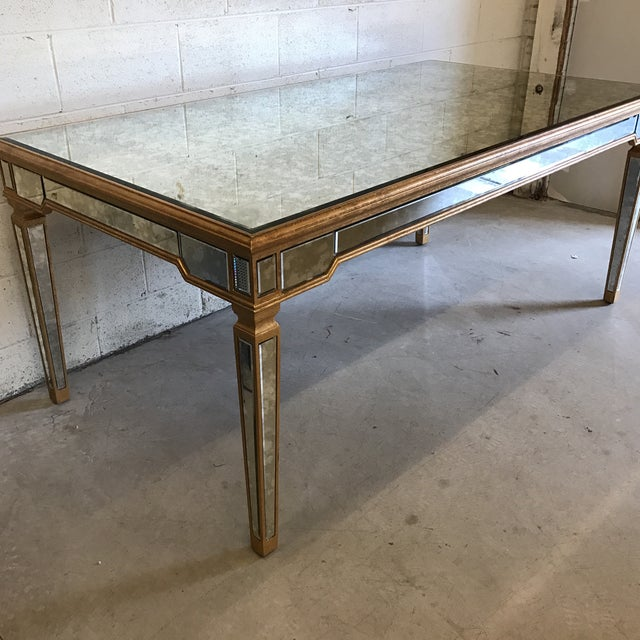 Antiqued Mirrored Dining Table With Gold Leaf Trim - Image 4 of 10