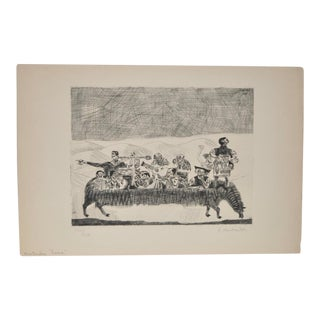 """1937 Vintage """"The Spooky Lama"""" Etching by Aime Montandon"""