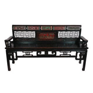 Antique Ningbo Ornate Carved Bench