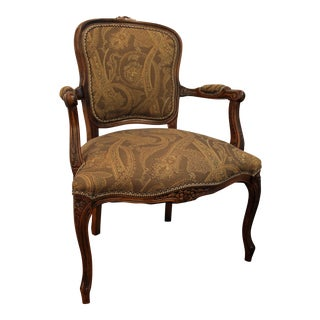 Vintage French Carved Ladies Fauteuil Arm Chair