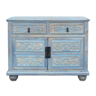 Shabby Rustic Light Blue High Credenza Cabinet