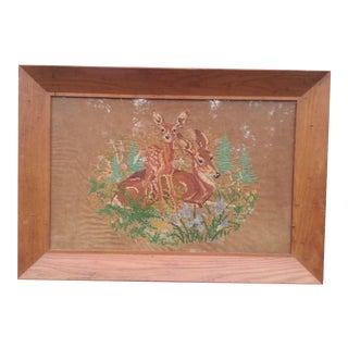Vintage Needlepoint in Wooden Frame