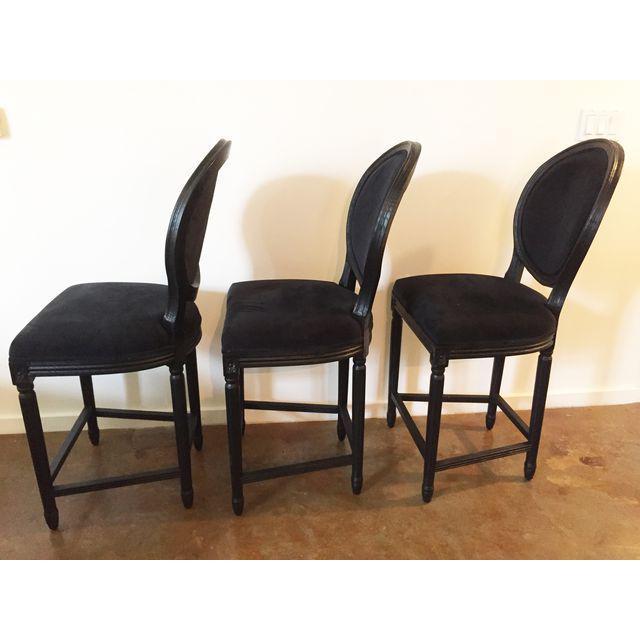 Image of Black Velvet French Bar Stools - Set of 3