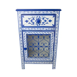 Bleu Majorelle on White Nightstand