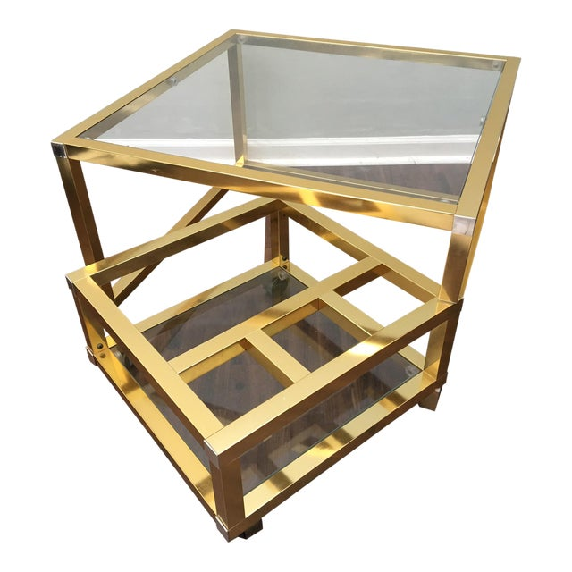 Cubist Brass Swivel Coffee Table with Wine Rack After Milo Baughman - Image 1 of 7