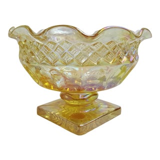Westmoreland Yellow Carnival Glass Candle Holder