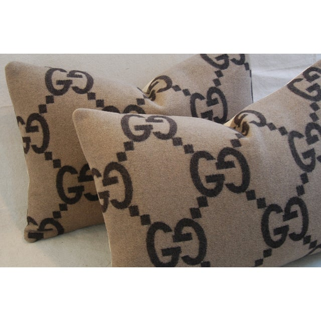 """23"""" X 16"""" Custom Tailored Gucci Cashmere & Velvet Feather/Down Pillows - Pair - Image 5 of 11"""
