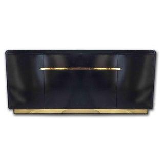 Lane Black Lacquer & Brass Credenza Buffet