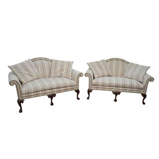 Heritage Chippendale Style Ball & Claw Foot Loveseats - A Pair