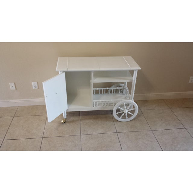 Hollywood Regency Faux Bamboo Bar Cart - Image 4 of 11