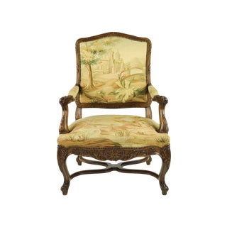 Antique Carved French Chair With Aubusson Tapestry