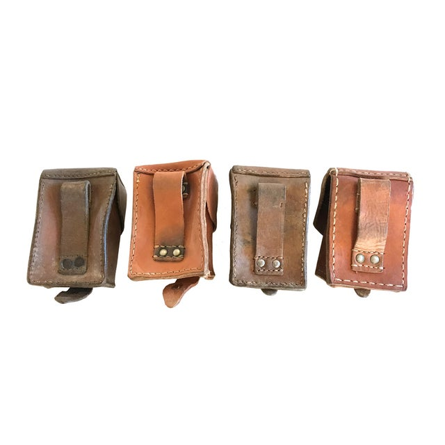 Image of Vintage Leather Military Pouches - Set of 4