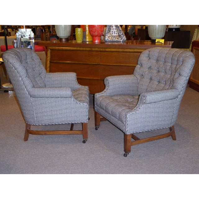 Beefy Edwardian Style Button Tufted Club Chairs in Houndstooth - Image 11 of 11