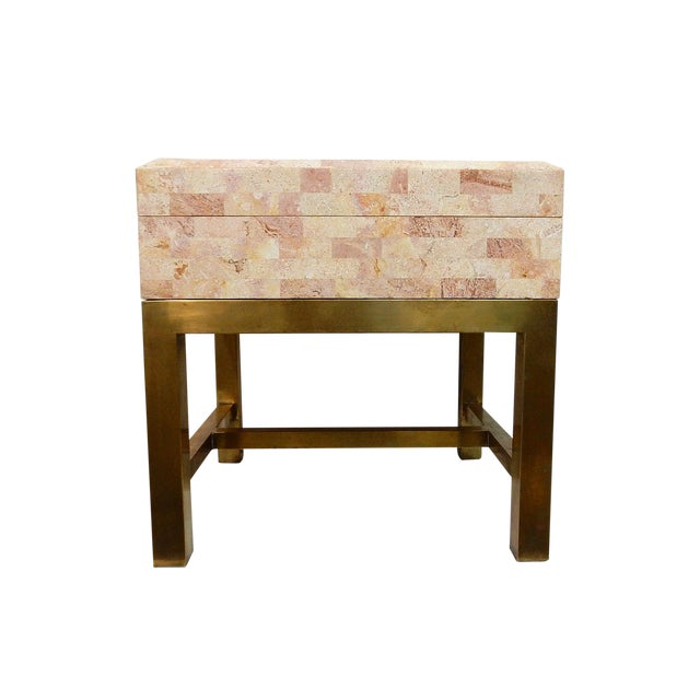 Maitland-Smith Stone & Brass Box Side Table - Image 1 of 10