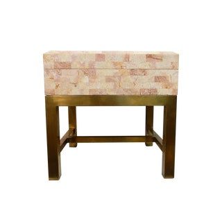 Maitland-Smith Stone & Brass Box Side Table