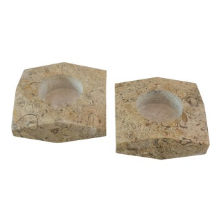 Fossil Stone Candle Holders - A Pair