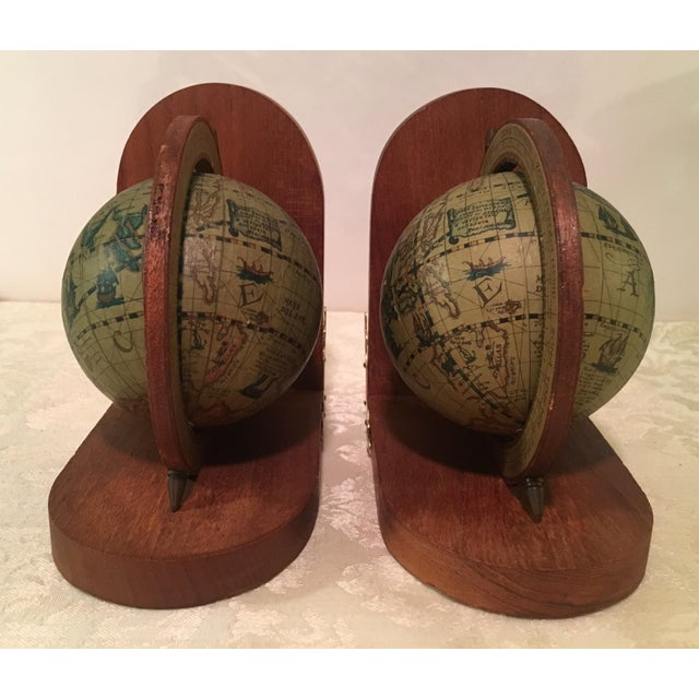 Vintage Italian Olde World Map Globe Bookends A Pair