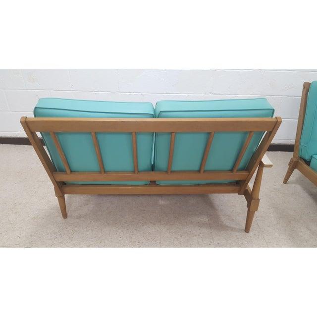Mid-Century Turquoise Sofa & Table Set - Image 6 of 10