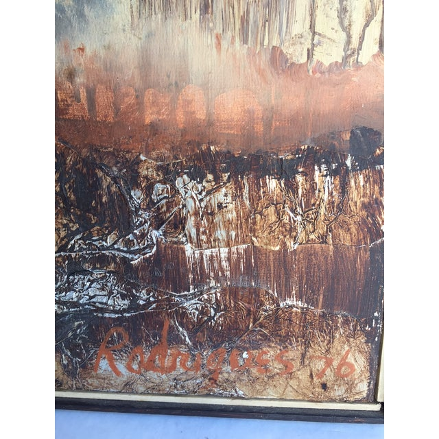 Large Vintage Abstract Woodland Canvas Art - Image 4 of 7