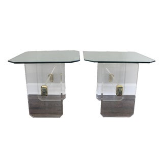 Vintage Lucite Brass and Glass End Tables - Pair