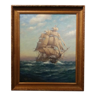 "Myron Mark - Sailing Ship at Sea flying the American Flag -Beautiful Oil Painting-c.1900 frame size 25 x 30"" canvas"