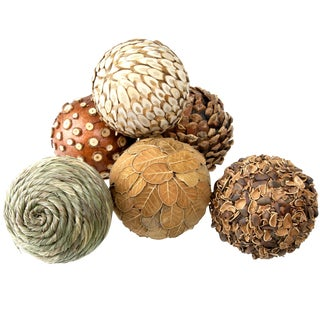 Natural Decorative Balls - Set of 6