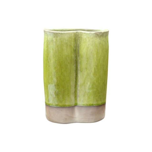 Image of French Ceramic Chartreuse Green Vase JARS France