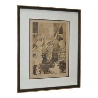 """Lisbeth Hamlin """"Pounding Fou Fou"""" Limited Edition Etching, C.1980"""