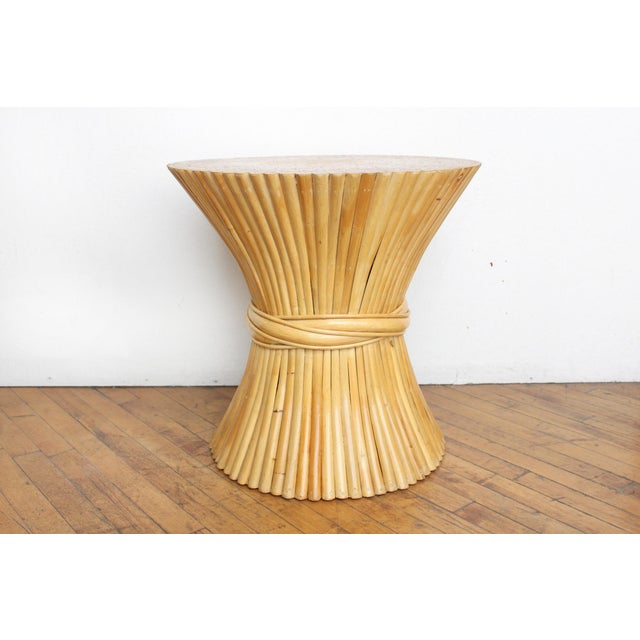 McGuire Wheat Sheaf Side Table- Rattan and Bamboo End Table - Image 6 of 6