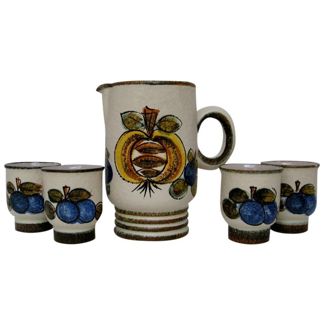 Vintage Hand Painted Italian Pitcher & Cup Set - Image 1 of 7