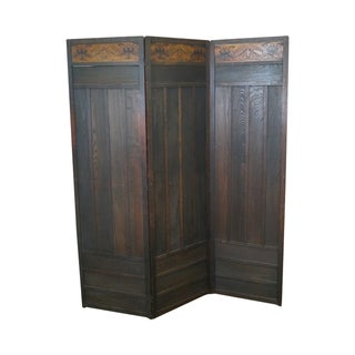Antique Arts & Crafts Oak Folding Screen