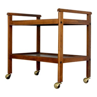 Walnut Two-Tiered Bar Cart