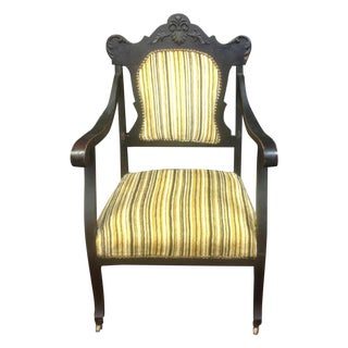 Antique Arm Chair With Striped Velvet Upholstery