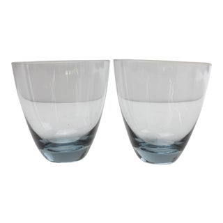French Stemless Wine Glasses - A Pair