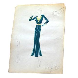 Edith Sparag 1930s Blue Dress Fashion Sketch