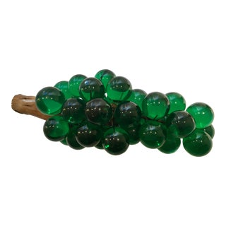 Vintage Emerald Green Lucite Grape Cluster With Grapevine Stem
