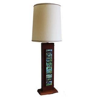 Mid Century Wooden Rectangular Table Lamp