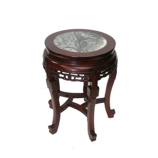 Chinese Reddish Brown Stone Top Elm Wood Stool