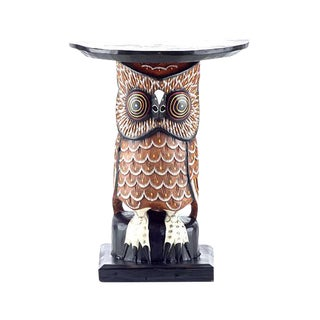 Wood Owl Side Table