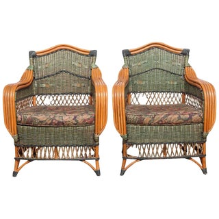 Grange French Rattan Art Deco Loungers - A Pair