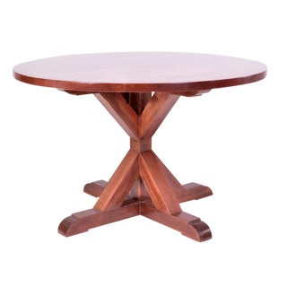 Pine & Walnut Finish Round Dining Table