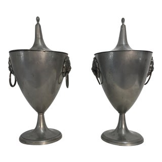 19th C. English Pewter Urns - A Pair