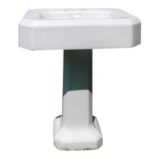 Mid-Century Porcelain Pedestal Sink