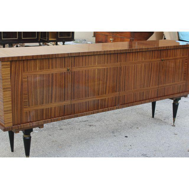 Image of 1940s Vintage French Art Deco Macassar Ebony Sideboard or Buffet/Bar