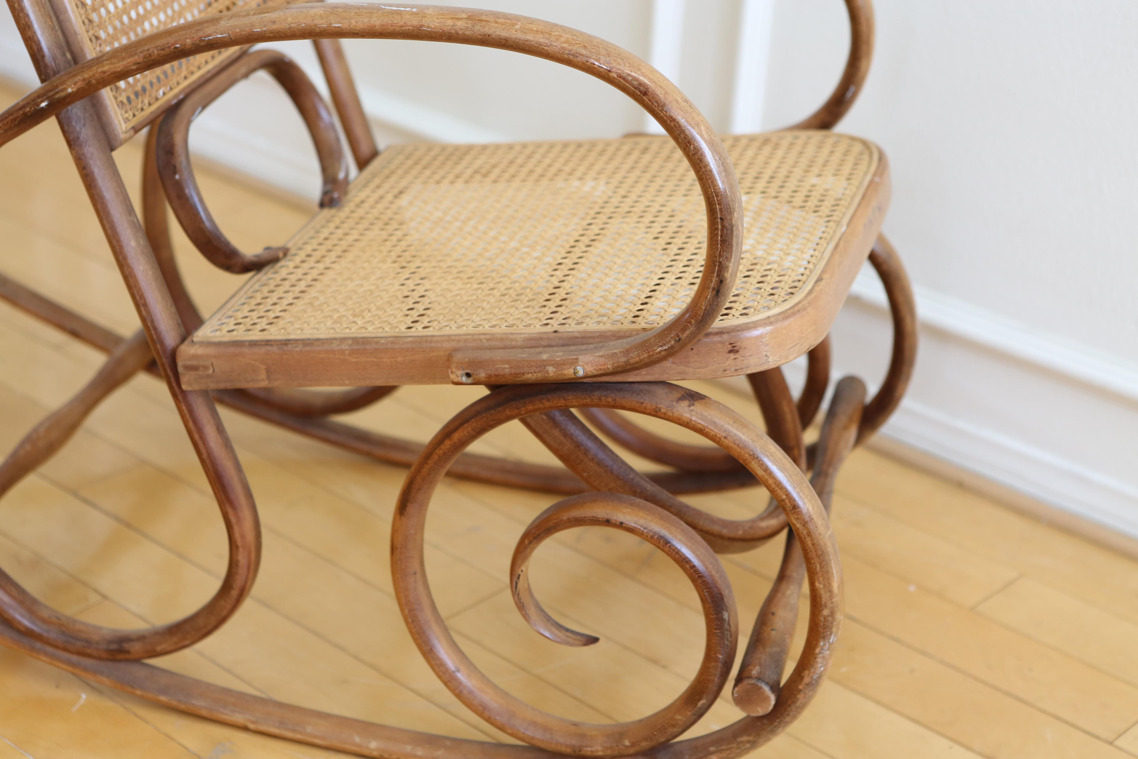 Michael Thonet Style Bentwood Cane Back Rocking Chair   Image 4 Of 8