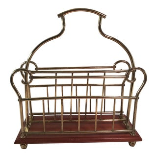 Mid-Century Modern Brass & Wood Magazine Rack