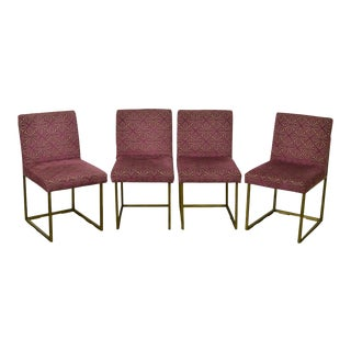 Milo Baughman Brass Finish Metal Thin Frame Dining Chairs - Set of 4