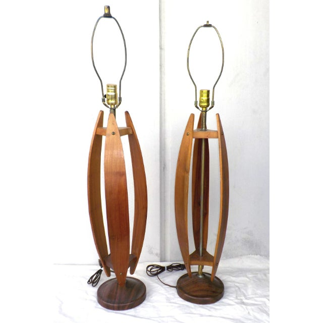Mid-Century Wood & Brass Minimalist Lamps - a Pair - Image 2 of 6