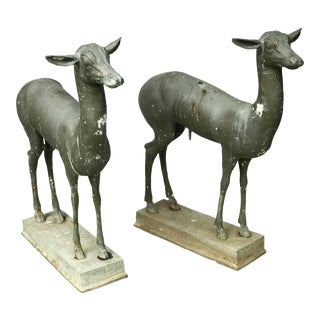 Bronze Young Male Deer Garden Figures - a Pair