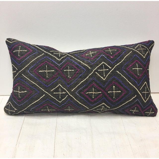 African Kuba Cloth Lumbar Pillow - Image 2 of 8